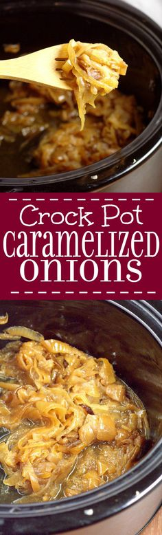 Make sweet, buttery Crockpot Caramelized Onions with just 2 ingredients in the slow cooker with this easy crockpot recipe. A busy cook's caramelized onion dream! Great for a side dish! Mmm... I love caramelized onions with a nice juicy steak!