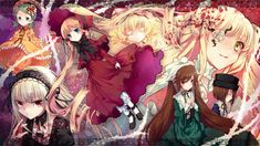 rozen maiden, kanaria, suigintou, shinku, hina ichigo, suiseiseki, souseiseki, kirakishou