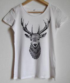 DEER shirt womens tshirt deer head boho hippie t-shirt with deer bust Gift for her womans shirt nature wild boho animal shirt for women tee
