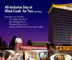 Click now and enter for your chance to win an All-Inclusive stay for 2 at Wind Creek!