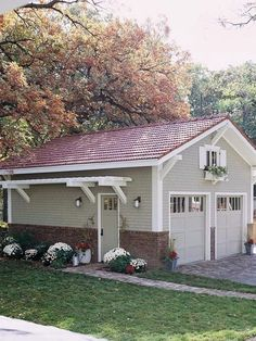 Would love to put this pergola on my garage. Pergolas are commonly freestanding structures -- but you can attach a pergola onto the side of your house, shed, or garage, too. It's a great way to save space and add interest to an otherwise ordinary wall Garage Exterior, House, Garage Design, Shed Plans, Garage Decor, House Exterior, House Plans, Curb Appeal, House Colors