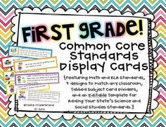 First Grade Common Core Standards {Editable Templates Included}