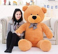 Giant 120cm (47'') Baby Soft Stuffed Animal Plush Toy Cotton Doll Inddor Furnishing Gift (Light Brown Teddy Bear)