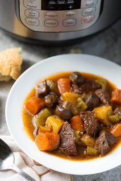 Sandy's Instant Pot Beef Stew is rich, delicious, and easy! No browning required! Featuring chuck roast, potatoes, carrots, and a fantastic sauce. Yum!