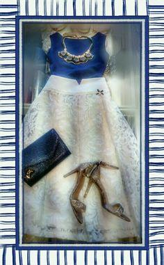 Elegant summer outfit wedding blue white lynne fashion exe high healed sandals high waist skirt white lace