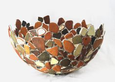 Sea Tumbled Teracotta Tiles and Bricks. Stained Glass Bowl, Sea Glass Art, Pottery Bowl