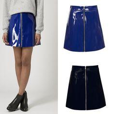 Women Ladies Celeb Pu Wet Look Leather Zip Front Shiny Short Mini Skirt 6-14