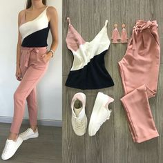 Product details of sexy terno top and pants (pink pants) fashion korean terno dress Cute Outfits With Shorts, Simple Outfits, Short Outfits, Outfits For Teens, Trendy Outfits, Fashion Pants, Fashion Outfits, Korean Fashion Work, Cosy Outfit