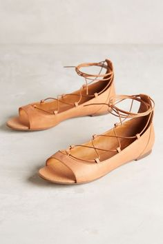 Miss Albright Corset-Laced Flats #anthrofave