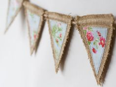 Burlap bunting, burlap banner, rustic bunting, rustic banner,applique bunting, applique banner, spring decor  - red roses on blue. £10.00, via Etsy.