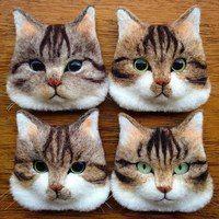 Валяные игрушки из шерсти, сухое валяние.  Cat faces.