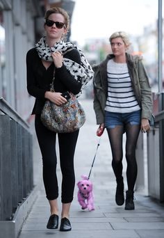 Emma walking in East London with her friend...and a very cute pink dog!!! (June 22)