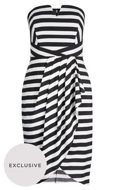 Inject stripes into your Spring look with the versatile Fair Lady Dress.  Key Features Include: - Strapless neckline with detatchable straps - Deep V decolletage cut out - Side boning for support - Asymmetric cross-over waist detail - Pleated faux wrap skirt - Invisible zip closure at back - Lightweight fabrication - Fully lined