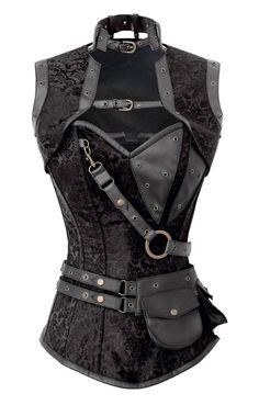 "Corset Super Store Women's 1294 Black Steampunk Corset 22-Fits Natural Waist 26""-27"""