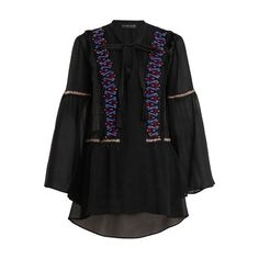 Etro Bead-embellished bell-sleeved sheer-silk blouse (531.270 HUF) found on Polyvore featuring women's fashion, tops, blouses, black, bohemian blouses, embroidered blouse, cocktail blouses, embroidery blouses and fringe blouse