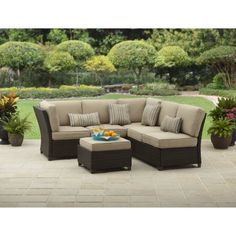 Outdoor Patio Better Homes and Gardens Cadence Wicker Outdoor Sectional Sofa Set, Tan, Seats 5 * Be sure to check out this awesome product. (This is an affiliate link) 0 Outdoor Decor, Clearance Patio Furniture, Porch And Patio Paint, Outdoor Patio Furniture, Outdoor Sectional Sofa, Patio Furniture Cushions, Patio Furniture Covers, Patio Furniture Sets, Sectional Patio Furniture