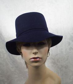 blue fadora  | Vintage Navy Blue Wool Ladies Fedora Hat