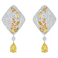 Earrings from LES BLÉS DE CHANEL - Fine Jewelry collection in 18K White and Yellow Gold set with 2 Pear-Cut fancy/intense Yellow Diamonds (5 cts),14 Fancy-Cut multicoloured Diamonds (3.4 cts) and 398 Brilliant-Cut Diamonds (4.5 cts) - July 2016 - cute jewelry, antique jewellery, jewelry fair 2015 *ad