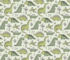 Dinosaurs in Green fabric by caja_design on Spoonflower - custom fabric
