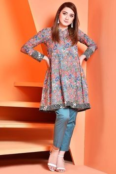 Kayseria 1 Piece Summer Collection 2018 Custom Stitched Suit - C 2512 - Blue Pakistani Fashion Casual, Pakistani Dresses Casual, Pakistani Dress Design, Kurta Designs Women, Kurti Neck Designs, Kurti Designs Party Wear, Short Kurti Designs, Stylish Dresses For Girls, Simple Dresses