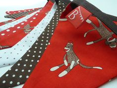 SOCK MONKEY Boys fabric bunting/banner in Red, Brown and White sock monkey and spot fabrics. Fabric Bunting, Bunting Banner, Fabric Banners, Baby Shower Fall, Fall Baby, Love Gifts, First Birthdays, Monkey, Baby Boy