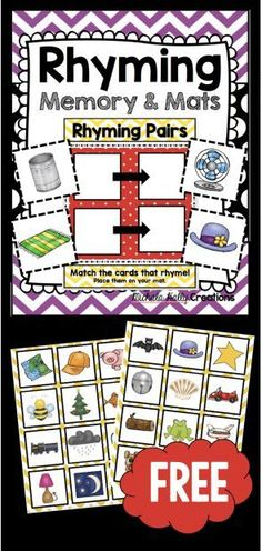 Rhyming game - FREE - Print and use for kindergarten or preschool literacy center