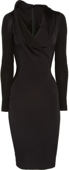 My version of the little black dress! Stretch Cottonblend and Stretchcrepe Dress...- would fit me better if it were sleeveless..