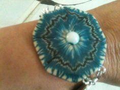 Bracelet Fimo, turkoise blanc , perle centrale