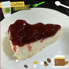 Strawberry yogurt cheesecake with sponge base :) Thumbs up for the homemade strawberry jam