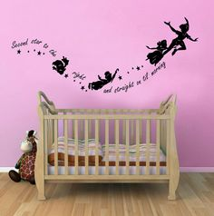 Peter Pan Second Star to the Right Childrens Wall Sticker Mural for kids bedroom