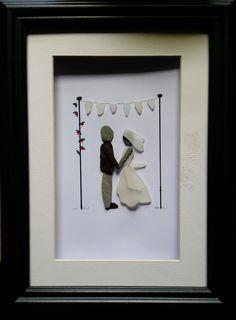 Custom made #wedding portraits. #Bride&Groom #PebbleArt https://www.facebook.com/cornwallpebbleart