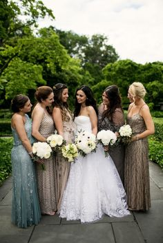 5ecea710a55 Bridesmaids Dresses  Adrianna Papell - Traditional Greek + Jewish Wedding  Goes Glam! at the Brooklyn Botanical Gardens by Brookelyn Photography - via  ...