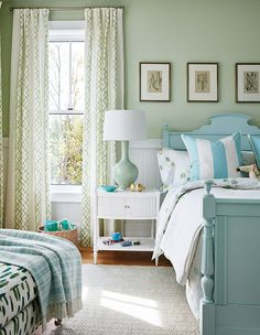 Home Decor and Lifestyle from Hello Lovely Studio: Sarah Richardson mint green bedroom with Tiffany blue cottage style bed, green walls, and white nightstand Green Bedroom Walls, Bedroom Colors, Pale Green Bedrooms, Blue Walls, Mint Walls, White Bedrooms, Gray Bedroom, White Walls, Mint Green Rooms
