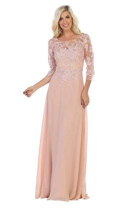 May Queen - MQ1637 Illusion Quarter Sleeve Appliqued Sheath Gown – Couture Candy Prom Dresses Online, Gowns Online, Mob Dresses, Wedding Dresses, Formal Dress Shops, Formal Gowns, Illusion, Mother Of The Bride Dresses Long, Mothers Dresses