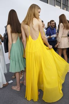Backstage Chloé Spring 2015-- GREEN AND YELLOW FAVE COLORS.