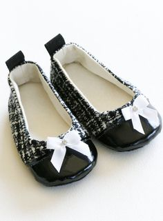 Baby Girl ballet slipper - Black & Silver Wool Tweed - Sizes 1 to 5 (toddler sizes too) Ballet Flat - Baby Souls Couture Baby Shoes