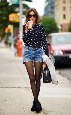 Women's Black and White Star Print Dress Shirt, Blue Denim Shorts, Black Suede Ankle Boots, Black Leather Satchel Bag