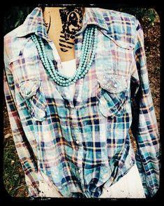ebcacdd22408d6 Vintage Blue Plaid Shirt Dress - A Rare Bird