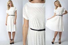 Vintage 80s White Retro Dress A Line Full Striped Metallic Slouchy Draped S M 1376