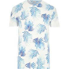 White feather print short sleeve t-shirt - print t-shirts - t-shirts / vests - men T Shirt Vest, White Feathers, Feather Print, Mens Sale, Printed Shorts, Men Casual, Shirt Print, Sleeve, River Island