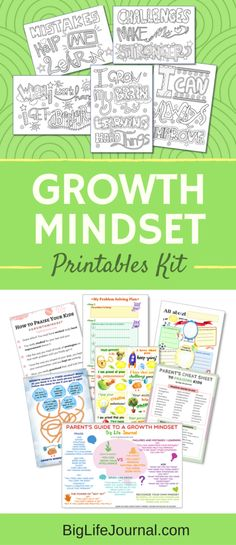 A set of 25 growth mindset printables for kids, parents, and educators. Perfect for any classroom or a homeschool!