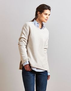 Women's Textured Stitch Jumper in Latte Marl from Crew Clothing