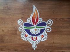 Quick and simple Diwali diya rangoli designs with colours by Shital Daga, chukkala muggul for Diwali Easy Rangoli Designs Videos, Rangoli Designs Simple Diwali, Rangoli Simple, Free Hand Rangoli Design, Small Rangoli Design, Rangoli Ideas, Rangoli Designs With Dots, Beautiful Rangoli Designs, Rangoli Designs Peacock
