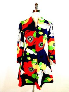 Vtg Authentic 60s Bright Floral Op Art Poppy MOD Twiggy Polyester Mini Dress S #ParfaitOriginals