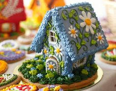 gingerbread house with beautiful daisies