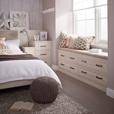 Want to show your bedroom some love? Start here... Window Seat: If you're lucky enough to have large window alcoves consider a window seat with storage underneath. Luxe it up with plenty of cushions and pretty co-ordinated fabrics.