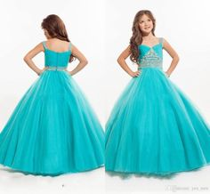 2016 New Mint Turquoise Girls Pageant Dresses Sweetheart Crystal Beaded Ball Gown Long Sweep Train Kids Girls Dress Birthday Communion Gowns Online with $82.42/Piece on Yes_mrs's Store   DHgate.com