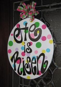 """He is Risen"" egg for Easter decor britt_whit"
