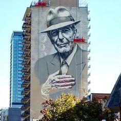 street art ELMAC New portrait of leonardcohen work in progress in Montreal