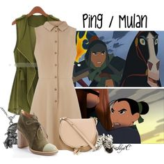Ping / Mulan - Disney's Mulan by rubytyra on Polyvore featuring Oasis, Eloqueen, Reed Krakoff, Chloé, Carolina Glamour Collection and Andrew Hamilton Crawford